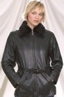 DL25<br>Ladies jacket with removable collar fur with belt