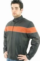 DMJ795-Orange<br>Mens Soft Leather Motorcycle Jacket