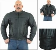 DMJ700<br>Mens Leather Motorcycle Jacket with zipout lining